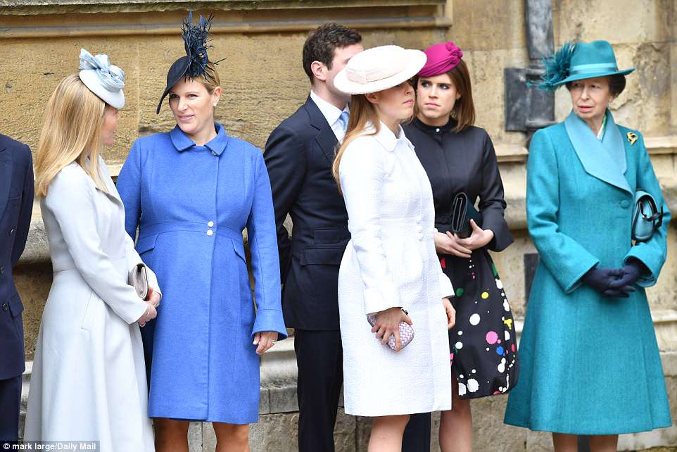 Despite the inclement weather, the royals opted for spring colour, with Princess Anne (far right) sporting a co-ordinated turquoise blue number
