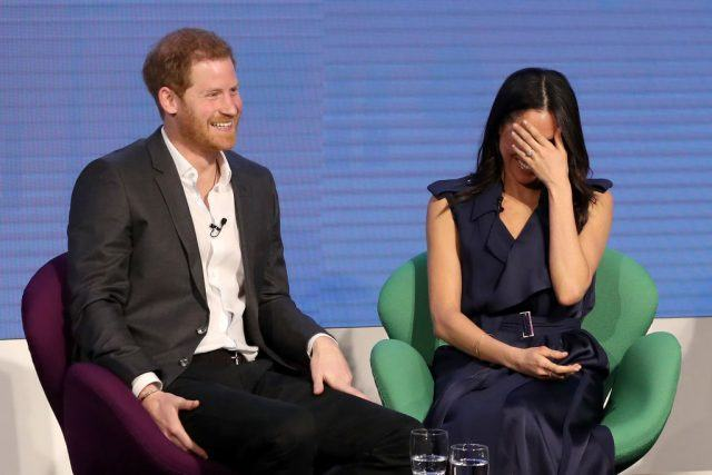 Prince Harry and Meghan Markle attend the first annual Royal Foundation Forum. Photo (C) GETTY