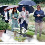 Harry Kate and William at the opening of the White Garden at Kensington Palace