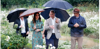 Harry, Kate and William at the opening of the White Garden at Kensington Palace