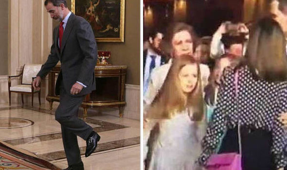 King Felipe of Spain trips up after the tense exchange between his wife and mum Photo (C) GETTY, YOUTUBE