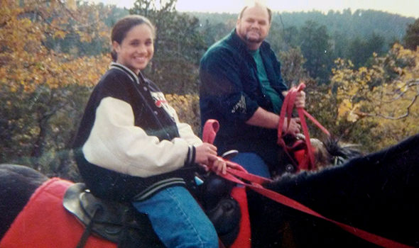 Meghan Markle riding a horse during a California trip with her father Photo C COLEMAN RAYNER