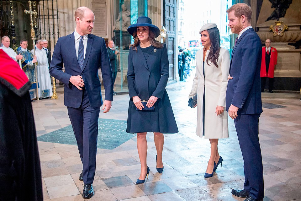 Prince William, the Duchess, Meghan, and Prince Harry attend a Commonwealth Day Service on March 12th. Photo (C) PAUL GRAVER, AFP, GETTY IMAGES