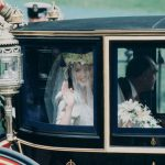 Sarah Ferguson On her way into the church with her father Sarah wore a crown of flowers Photo C GETTY