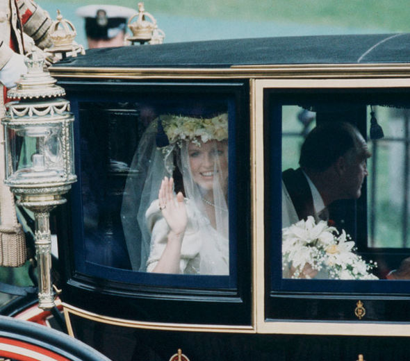 Sarah Ferguson On her way into the church with her father Sarah wore a crown of flowers Photo (C) GETTY