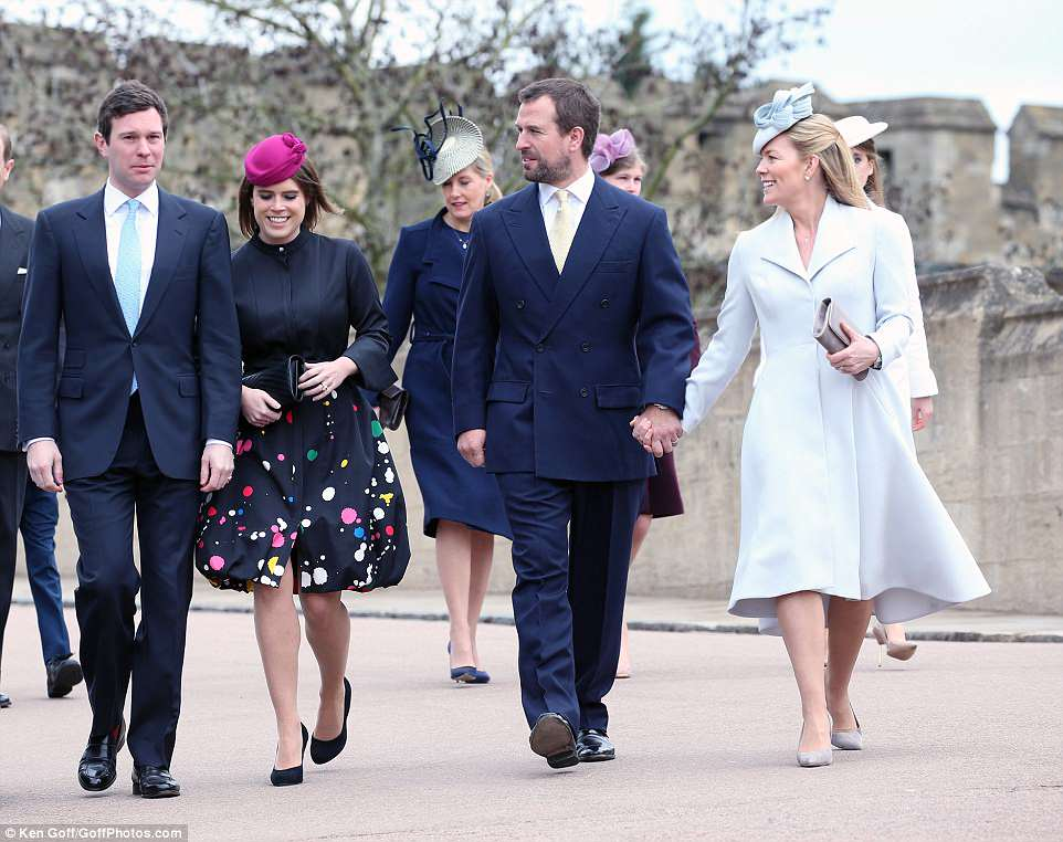 Striding forth! Peter Phillips, firmly clutching the hand of wife Autumn Phillips, walks alongside Jack Brooksbank and Princess Eugenie, who are set to wed in October this year