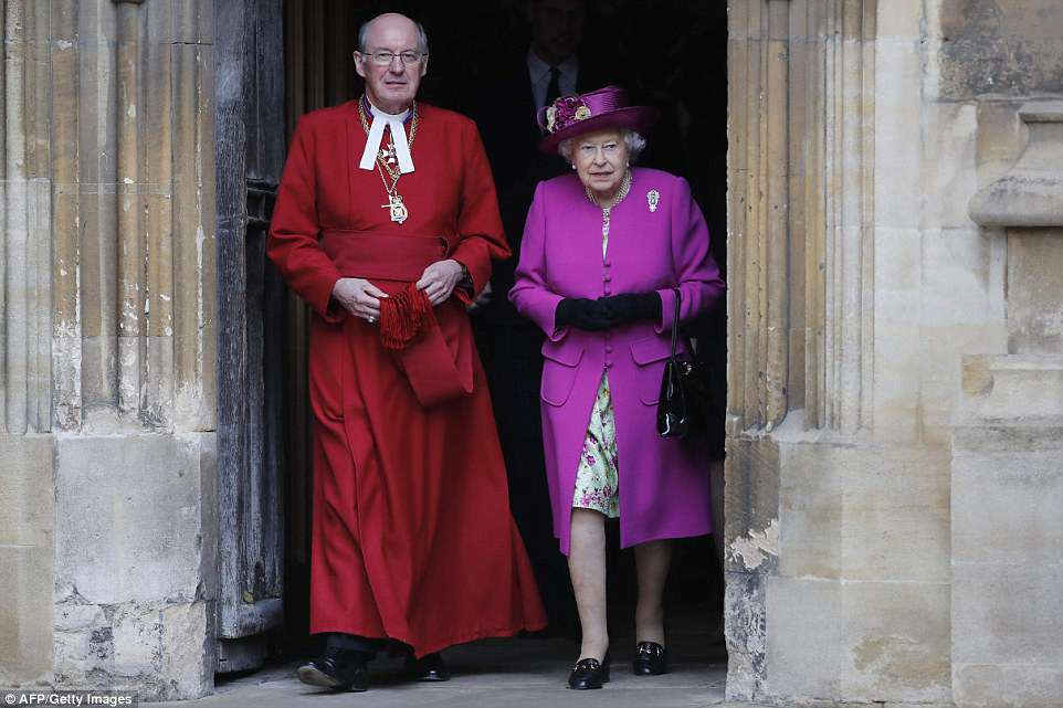 The Dean of Windsor, David Conner, led the service, attended by the royal family every year, and strolled by the side of the Queen as she made her way out of the chapel
