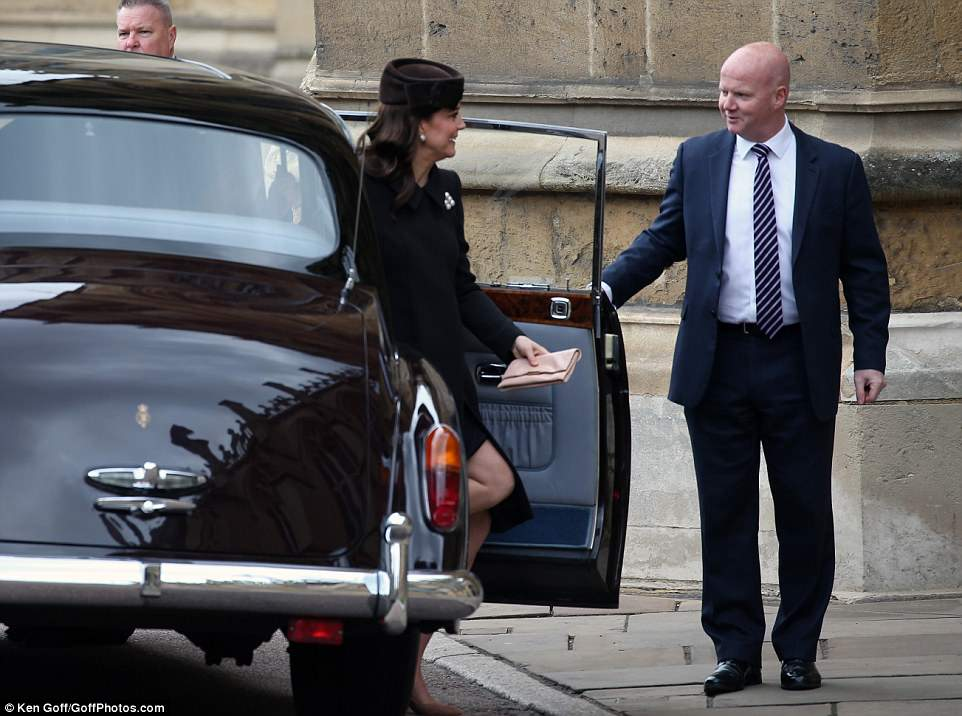 The Duchess of Cambridge, on sparkling form, steps out of the royal car as she arrives for the Easter Mattins Service