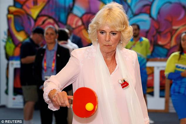 The Duchess of Cornwall playing table tennis at a recent village to the Commonwealth Games athlete's village in Gold Coast, Australia