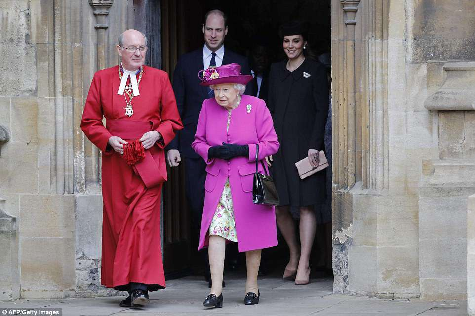 The Queen leads her family from the seasonal service at St George's Chapel in Windsor this morning, with the Duke and Duchess of Cambridge following closely behind