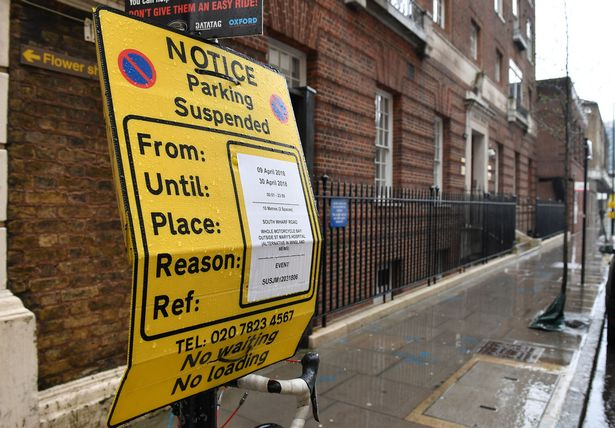 The yellow signs cite Event as the reason for the suspension in front of the Lindo Wing (Image PA)
