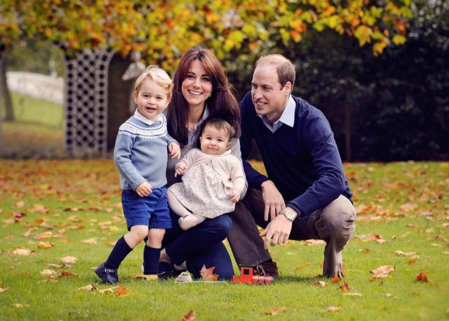 Prince George, Duchess Kate, Princess Catherine, and Prince William in the Royal Family Christmas Card 2015.