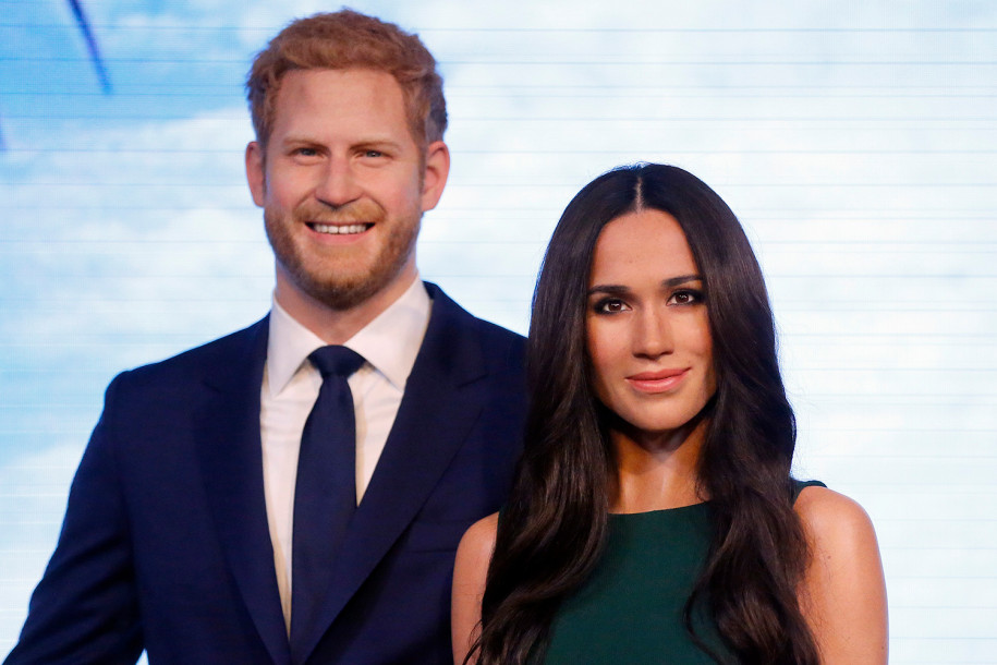 Wax figures of Prince Harry and Meghan Markle at Madame Tussauds London Photo (C) PA