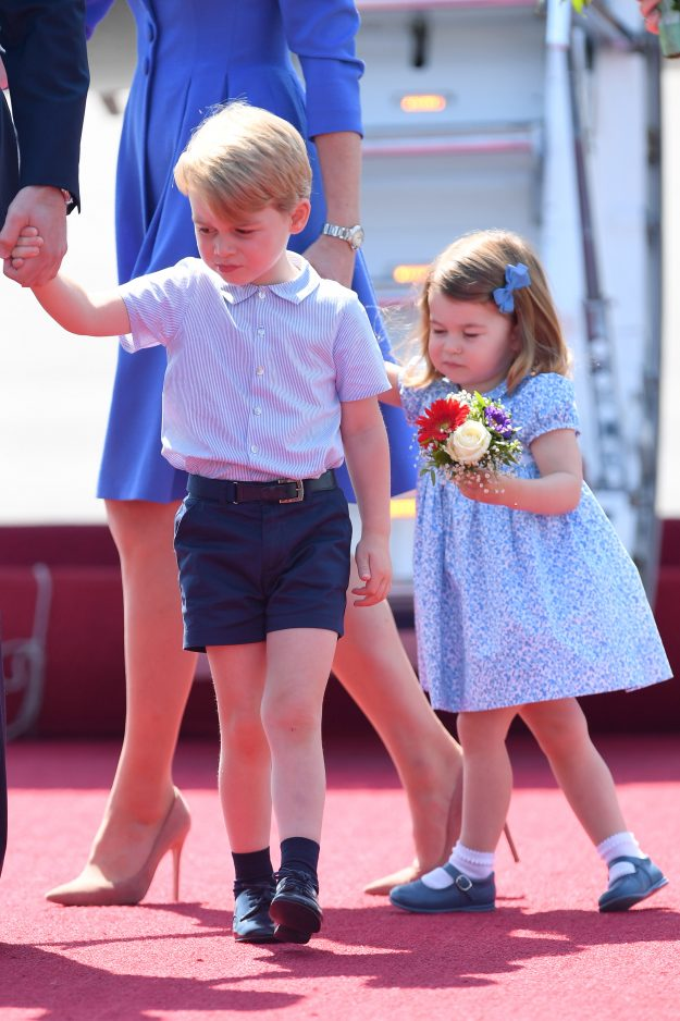 BERLIN, GERMANY - JULY 19: Prince George and Princess Charlotte arrive at Berlin Photo (C) GETTY
