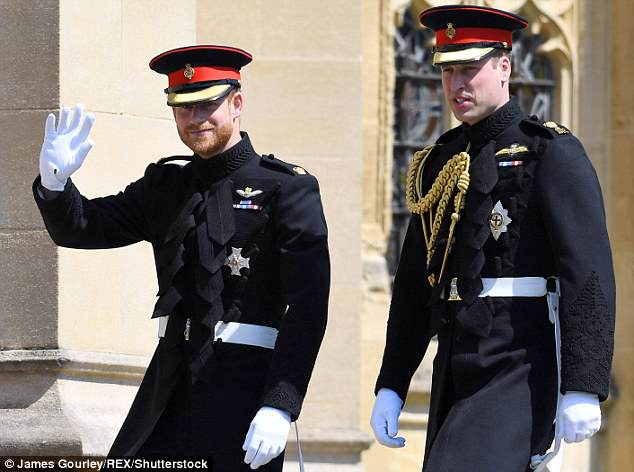 Prince Harry (left) arrived at his wedding to Meghan Markle with his brother and best man Prince William (right) to rapturous applause in Windsor this morning