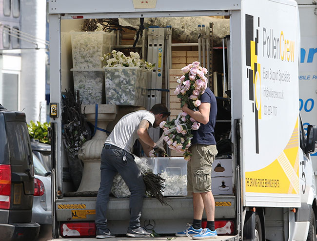 A large order of flowers was seen leaving royal florist Philippa Craddock's London shop Photo (C) GETTY