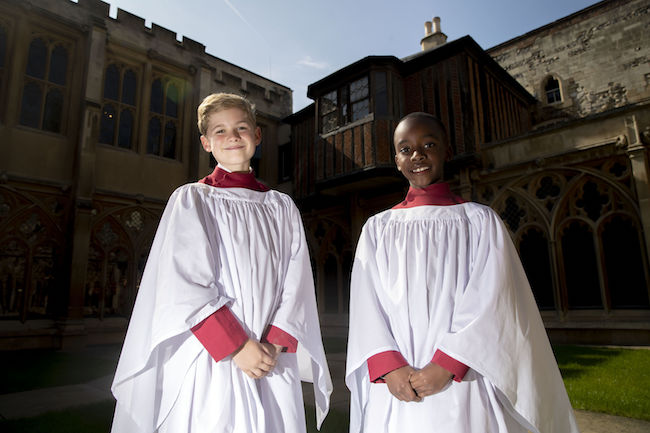 Members of St. George's Chapel Choir Leo Mills (left), aged 11 and Nathan Mcharo, aged 9, before a rehearsal and ahead of the wedding of Prince Harry and Megan Markle this weekend. PRESS ASSOCIATION Photo. Picture date: Monday May 14, 2018. Photo credit should read: Steve Parsons/PA Wire