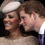 Duchess Catherine and Prince Harry share a special bond. The pair try to hide their laughter at the Thanksgiving service at St Pauls Cathedral back in 2012 Photo C GETTY