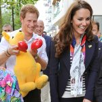 Harry and Kate lark about at the 2012 London Olympics with an Aussie mascot. Photo (C) GETTY