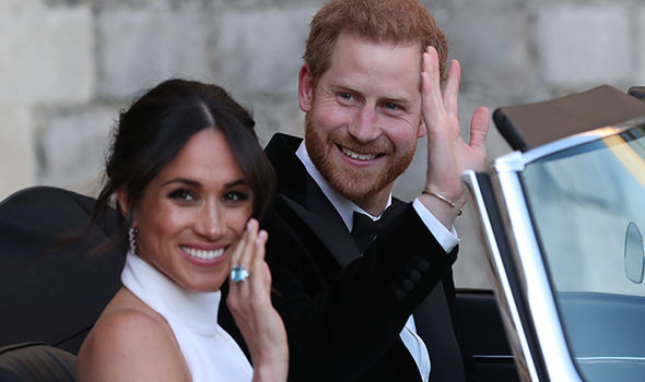 Harry and Meghan head to their evening reception at Frogmore Hall Photo (C) GETTY