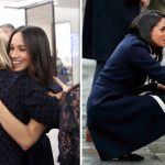Meghan Markle is known to break royal protocol and hug her staff as well as members of the public Photo C GETTY