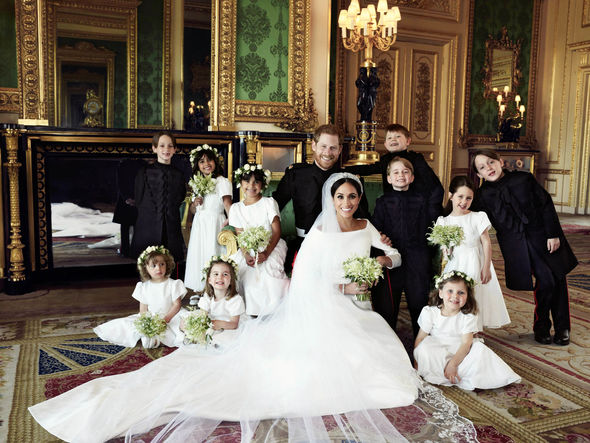 Meghan and Harry with their bridesmaids and page boys Photo (C) ALEXA LUBOMIRSKI, PA