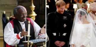 Prince Harry and Meghan Markle struggled to withhold their laughter during the ceremony Photo C GETTY PA