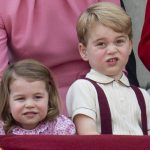 Princess Charlotte and Prince George pull faces during the Trooping of the Colour Photo C UK PRESS VIA GETTY
