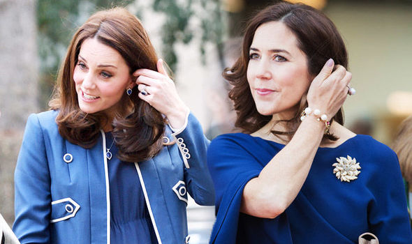 Princess Mary of Denmark Looks just like Kate Middleton in blue gown and pearl earrings PPrincess Mary of Denmark Looks just like Kate Middleton in blue gown and pearl earrings Photo (C) GETTYhoto (C) GETTY