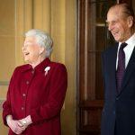 Queen Elizabeth II and Prince Philip Duke of Edinburgh react as they bid farewell to Irish President Michael D. Higgins and his wife Sabina Photo C GETTY