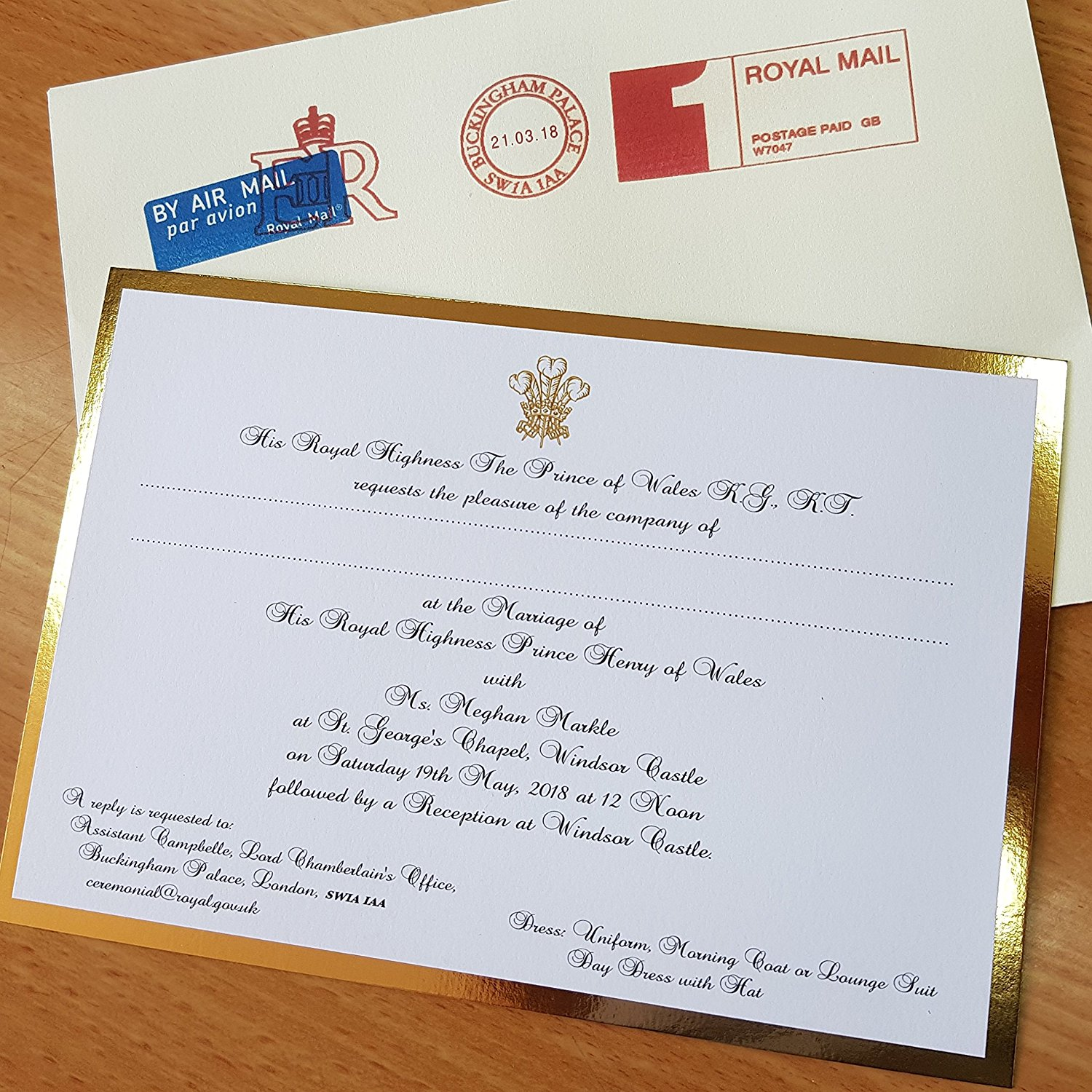 royal wedding invitation prince harry meghan replica souvenir card envelope dianalegacy latest update news images videos of british royal family dianalegacy