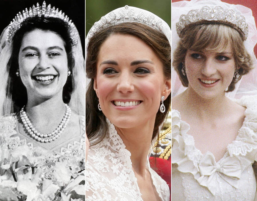 Royal tiaraas throughout history Exquisite jewels worn Kate Middleton, the Queen and Princess Diana Photo (C) GETTY
