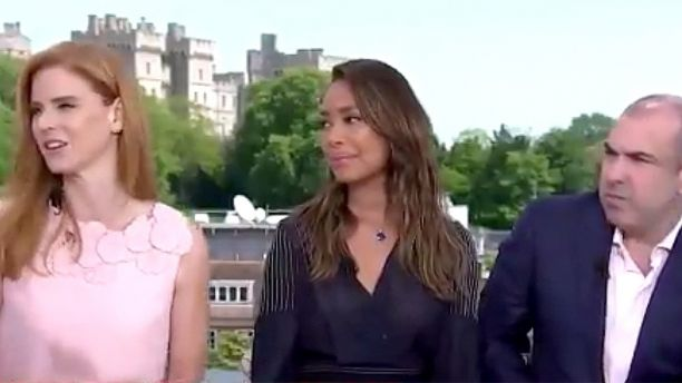 Suits' castmembers Sarah Rafferty, Gina Torres and Rick Hoffman dish the dirt on Markle and Prince Harry's romance, which they knew of before the rest of the world. (NBC)