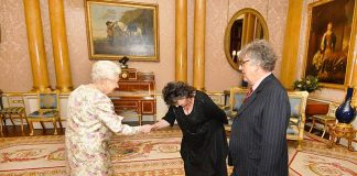 The Queen meeting Paul Muldoon and Poet Laureate Carol Ann Duffy Photo C GETTY