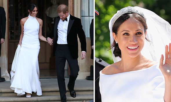 The couple changed into stylish second outfits for their evening do at Frogmore Hall Photo (C) GETTY