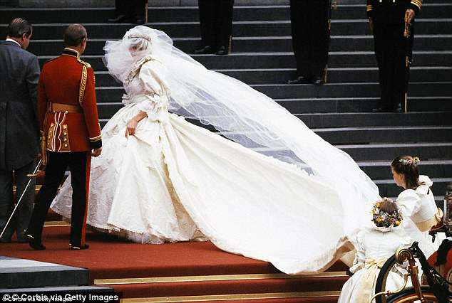 The details of Princess Diana's dress managed to be kept a complete mystery until hours before her wedding to Charles, Prince of Wales, at St Paul's Cathedral Photo (C) GETTY