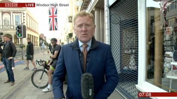 Transmission was lost during a live report from the streets of Windsor with John Maguire Photo (C) BBC