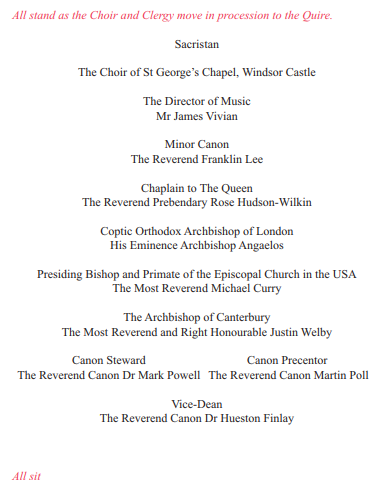 The Official Order of Service for the Wedding of Prince Harry and Ms. Meghan Markle Photo (C) ROYALS UK