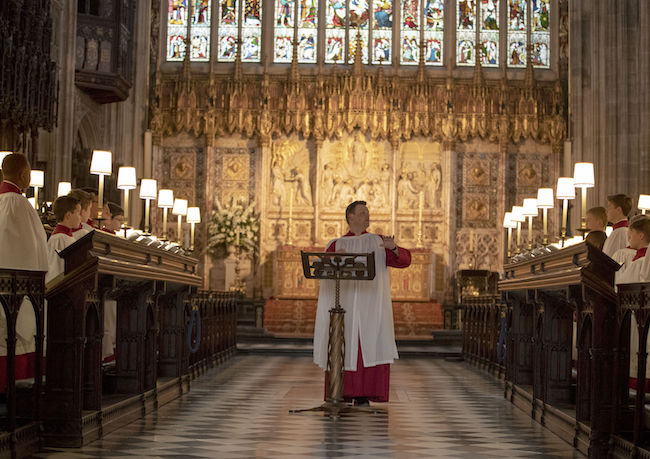 James Vivian, Director of Music at St George's Chapel in Windsor directs the St. George's Chapel Choir during a rehearsal before evensong and ahead of the wedding of Prince Harry and Megan Markle this weekend. PRESS ASSOCIATION Photo. Picture date: Monday May 14, 2018. Photo credit should read: Steve Parsons/PA Wire