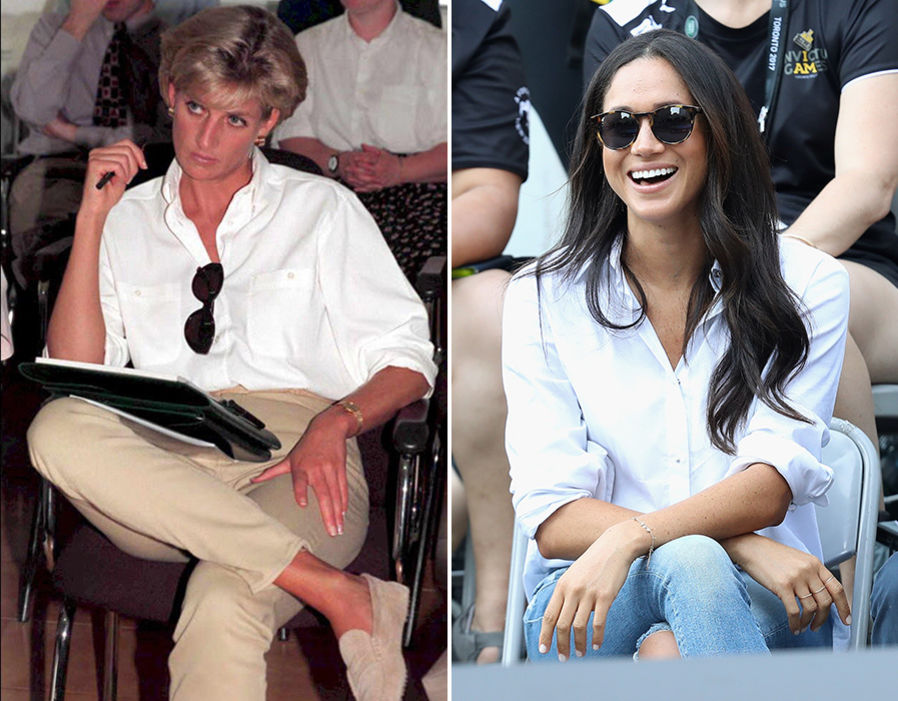 Princess Diana and Meghan Markle Similar Fashion Style Photo (C) GETTY IMAGES