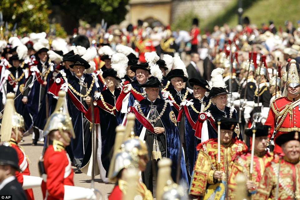 Every June, a grand procession of the knights takes place at Windsor Castle, accompanied by a marching band and Officers of the Order, all in grand ceremonial dress