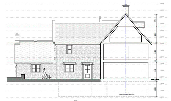 Architect drawings of the Cotswolds property have been modified for a family Photo (C) West Oxfordshire District Council