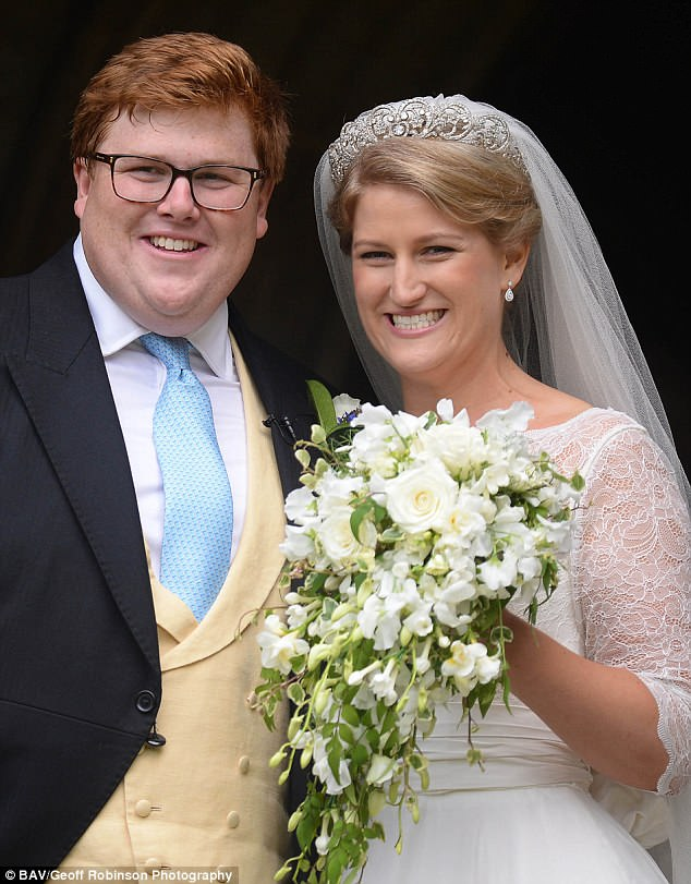 Celia, daughter of Lady Sarah McCorquodale tied the knot with George Woodhouse, pictured