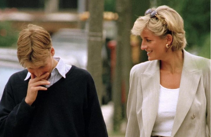 Diana with Prince William a few months after his 13th birthday still making him laugh Photo (C) GETTY