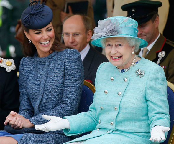 Kate Middleton and the Queen Body language expert revealed Kate is a 'duck to water' to royal life Photo (C) GETTY
