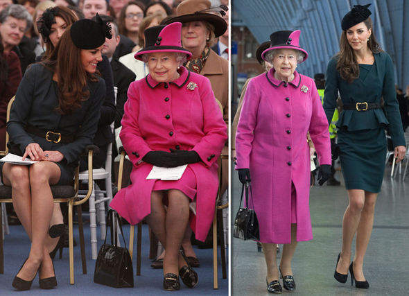 Kate Middleton and the Queen Image of the monarch and Kate in St Pancras station Photo (C) GETTY