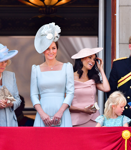 Kate and Meghan pictured on the Buckingham Palace balcony in June Photo (C) GETTY