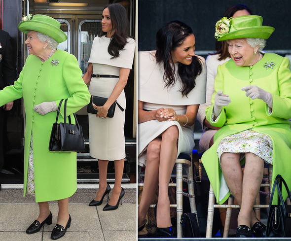 Meghan Markle and the Queen Meghan, on the other hand, looks less relaxed with the monarch Photo (C) GETTY