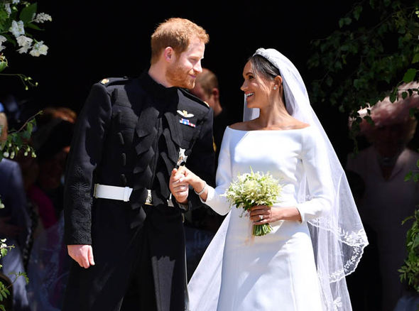 Meghan Markle dresses The Duchess wore a wedding dress by Clare Waight Keller for Givenchy Photo (C) GETTY