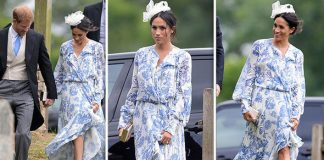Meghan Markle looked summery in a floaty floral frock Photo C GEOFF ROBINSON